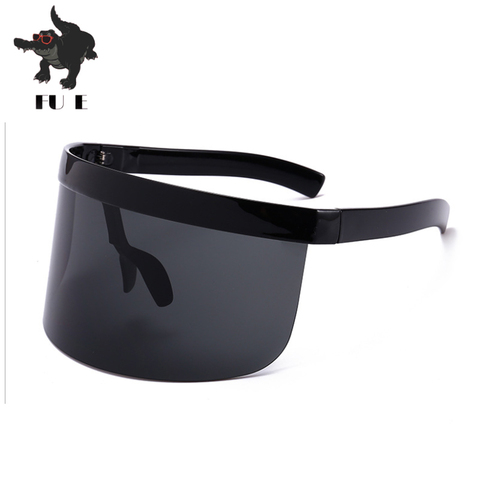FU E Sexy Oversized Shield Visor Sunglasses Women Brand Designer Big Frame Mirror SunGlasses Shades Men Windproof Eyewear UV400 Lahore