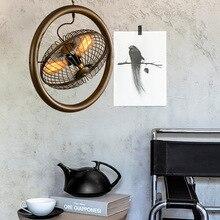 American retro industrial wind cafe Internet bar chandelier ceiling fan light iron creative personality loft