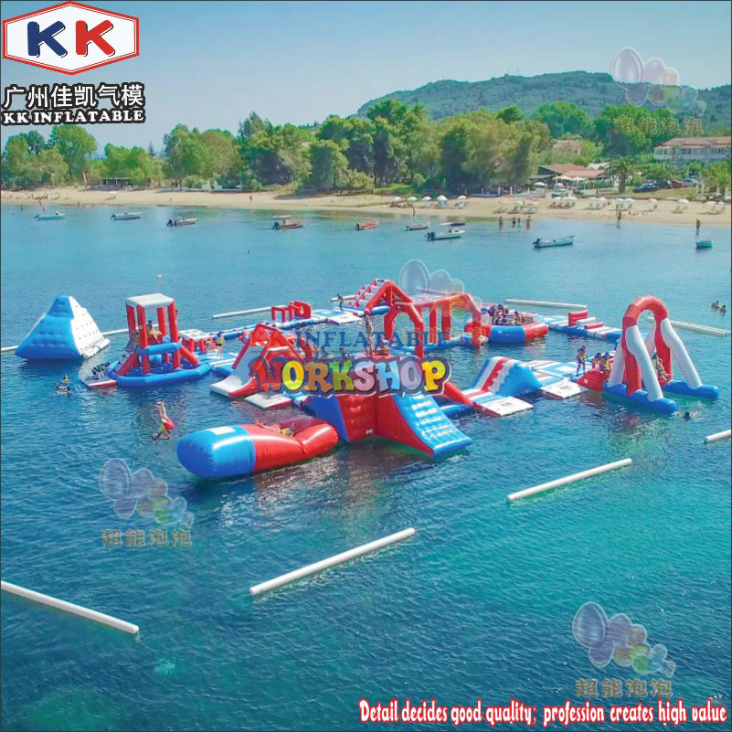 0.9mm PVC Customized Aqua Adventure inflatable water attraction