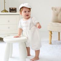 Baby rompers summer girls White Romper Princess Jumpsuit Newborn Infant Short Sleeve Kids One Pieces with hat Clothes sets
