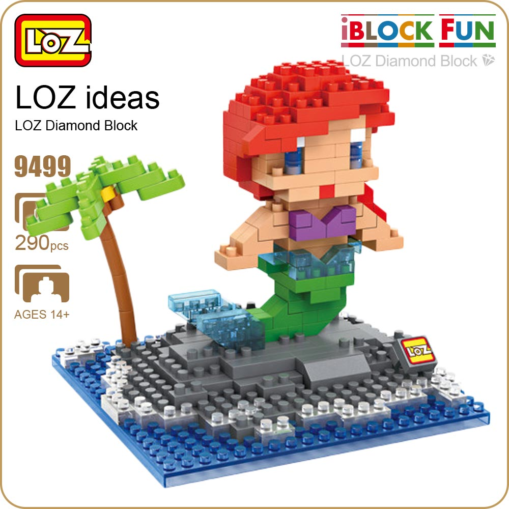 LOZ Diamond Blocks Ariel Little Mermaid Figure Pop Anime Movie Princess Collection Kid's Gifts Cute Toys Model Doll Bricks 9499 loz diamond blocks figuras classic anime figures toys captain football player blocks i block fun toys ideas nano bricks 9548