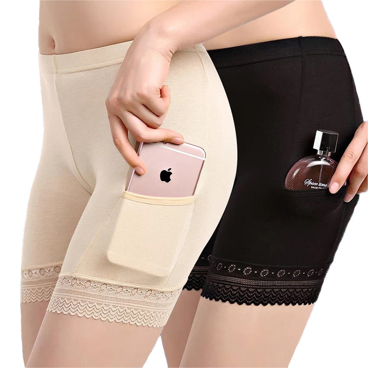 With-pocket-modal-underwear-women-s-safety-pants-lace-three-pants