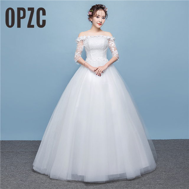 Real photo 2018 new arrival white lace Wedding Dress with half ...
