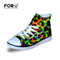 FORUDESIGNS Leopard Boys Outdoor Sport Walking Shoes Comfortable Green Graffti Print High Top Canvas Shoe Daily Sneaker for Kids