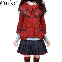 Artka 2015 женская ретро новая коллекция зимней одежды отложным воротником рукавом три четверти красное лоскутное высококачественное элегантн