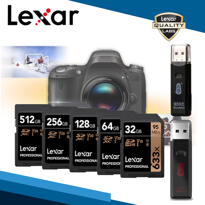 Lexar Brand SDXC SDHC SD Card 95M/s 633x 32GB 64GB 128GB 256GB 512GB 1TB U1 U3 Class 10 Memory Card For 1080p 3D 4K Video Camera
