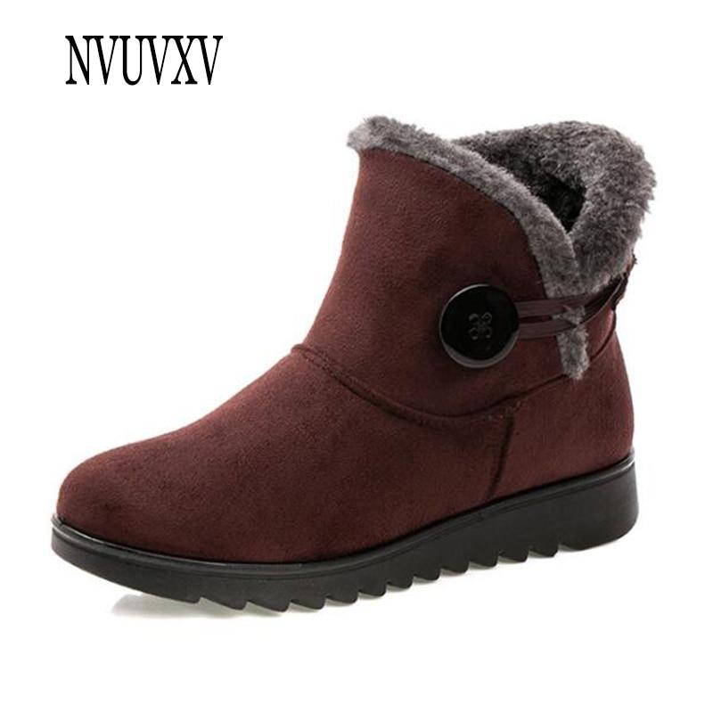 44a69a521 Invierno Zapatos De Negro Plana Confort Caliente Tobillo Mujeres vino Nieve  Mujer brown Suave Gruesa Tinto Moda Botas Inferior Madre ...