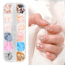 12Color/box Nail Art Decoration Ultra Thin Natural Shell  Gold Silver Foil Sticker Nails Accessories
