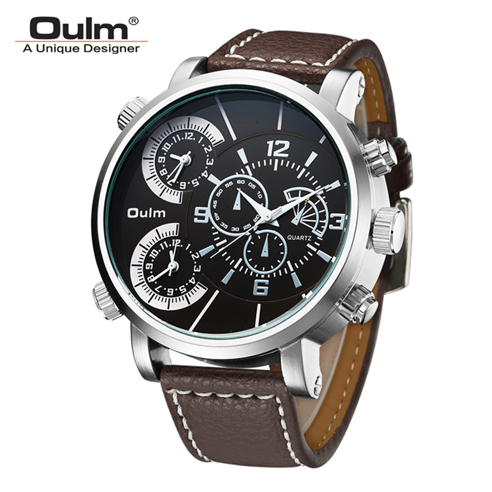 Oulm Brand Men Black Stainless Steel Quartz Watch 3 Time Zones Wristwatches Relogio Masculino Montre Homme 3 Colors oulm 9415 original brand watches for men dual time compass quartz watch relogio militar masculino grande montre homme boussole