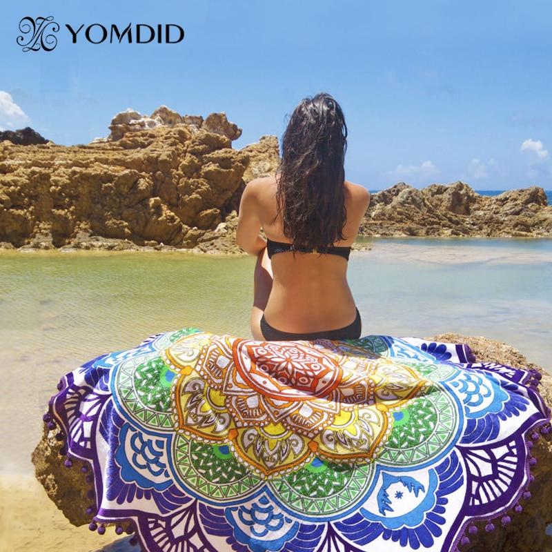 Lotus Round Beach Towel Large Yoga Mat 150cm Indian