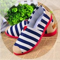 Plus Size 35~40 Spring 2016 Striped Canvas Shoes Women Casual Flats Comfort Loafers Slip On