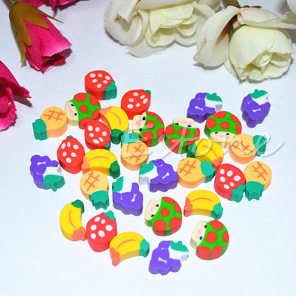 50Pcs Mini Cute Fruit Rubber Kawaii Pencil Eraser Children Children School Student Stationery Gift Toy C26