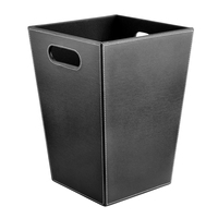 HIPSTEEN Square Shape Solid Color PU Wastebasket Paper Basket Trash Can Dustbin Garbage Bin Without Lid Storage Cabinet Bins