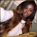 Новая Мода 1B/30 Ломбер Полный Парик Шнурка Человеческие Волосы Три Тона Ломбер Парик Фронта Шнурка Бразильских Волнистые Ombre парик