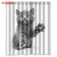 WONZOM Cat Shower Curtains Bathroom With 12 Hooks Waterproof Accessories For Decor Modern Animal Bath Curtain