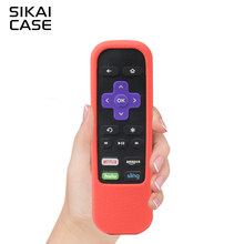 SIKAI For Roku Remote Case Shockproof Silicone Cover For ROKU Standard Remote For Roku Premiere Express Remote Cover With Strap(China)