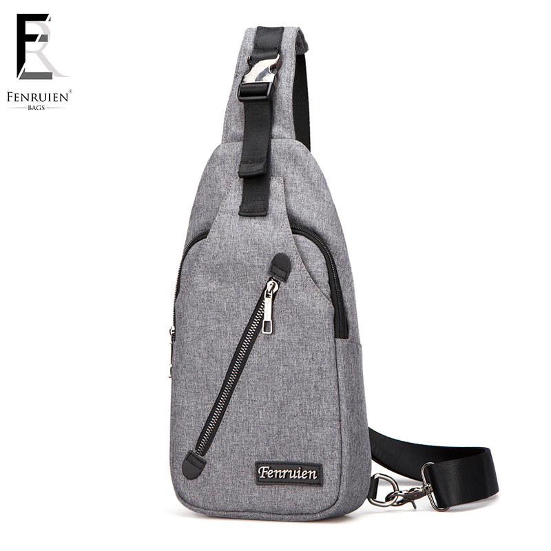 FENRUIEN Crossbody Bags for Men Messenger Chest Bag Pack Casual Bag Waterproof Nylon Single Shoulder Strap Pack 2018 New Fashion