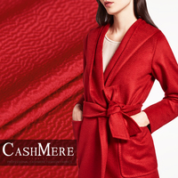 Rhine red water ripple silk cashmere fabric autumn winter coat cashmere wool fabric natural cashmere cloth wholesale wool cloth