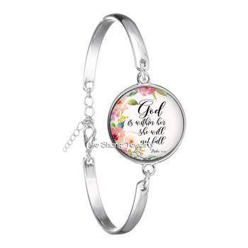 God Is Within Her, She Will Not Fall Bible Verse Glass Dome Bracelet Scripture Quote Art Picture Jewelry Gifts For Christian image