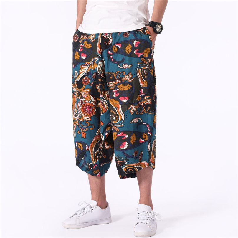 Men's Pant Wide-Crotch Trousers Harem Hip-Hop Comfortable Cotton Linen Baggy -3a10 Bloomers