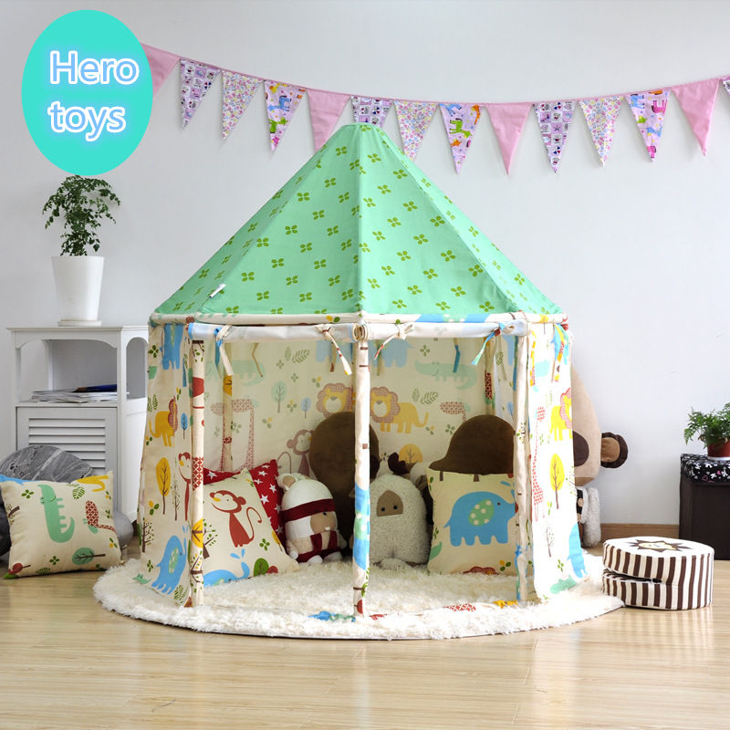 Indoor outdoor fairy tale House tent Pure cotton cloth + wooden pole assembly yurt foldable child park game play tent baby toyIndoor outdoor fairy tale House tent Pure cotton cloth + wooden pole assembly yurt foldable child park game play tent baby toy