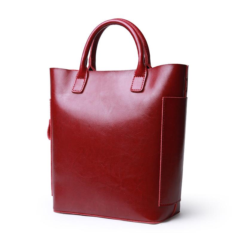 Women Tote Bag Cow Split Leather Bucket Handbag Casual Menssenger Bag Big Capacity Ladies Shoulder Bag Large Simple Shopping Bag
