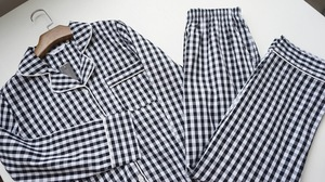 Image 5 - Lovers Pajamas Cotton Long Sleeves Autumn Women white BlackPlaid Pajama Set  Home Wear Casual Pyjamas plus size M XXL for women