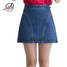 Borisovich New 2017 Spring Summer High Waisted A-line Denim Skirts Elegant Slim Short Skirt Female Package Hip Skirts M382