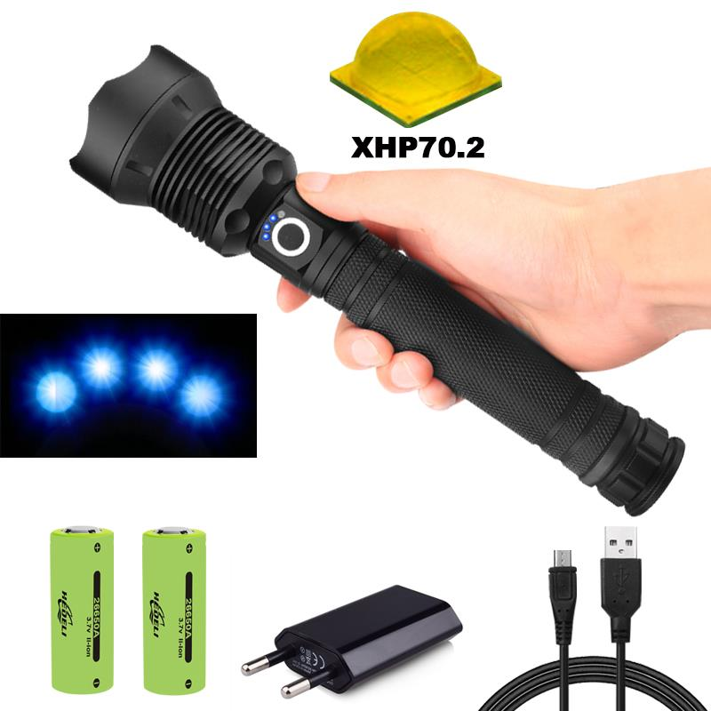 XLamp xhp70.2 50000 lumens most powerful flashlight usb Zoom led torch xhp70 xhp50 18650 or 26650 Rechargeable battery hunting Люмен