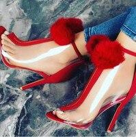 אדום/שחור פרווה כדורי קישוט PVC שקוף קדמי בוהן ציוץ נעלי עקבים סופר גבוהים/חזרה רוכסן קיץ קרסול מגפי עקבים