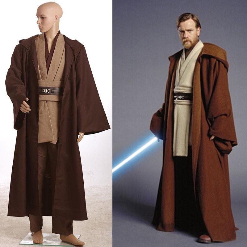 Stock Adult Men Revenge of the Sith Star Wars Obi Wan Kenobi Costume Halloween Jedi TUNIC Anakin Cosplay Costume Hooded Cloak