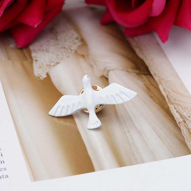 1pc New Fashion Jewelry Simple Peace Dove White Pigeon Brooch Exquisite Little Animal Collar Jewelry Pins