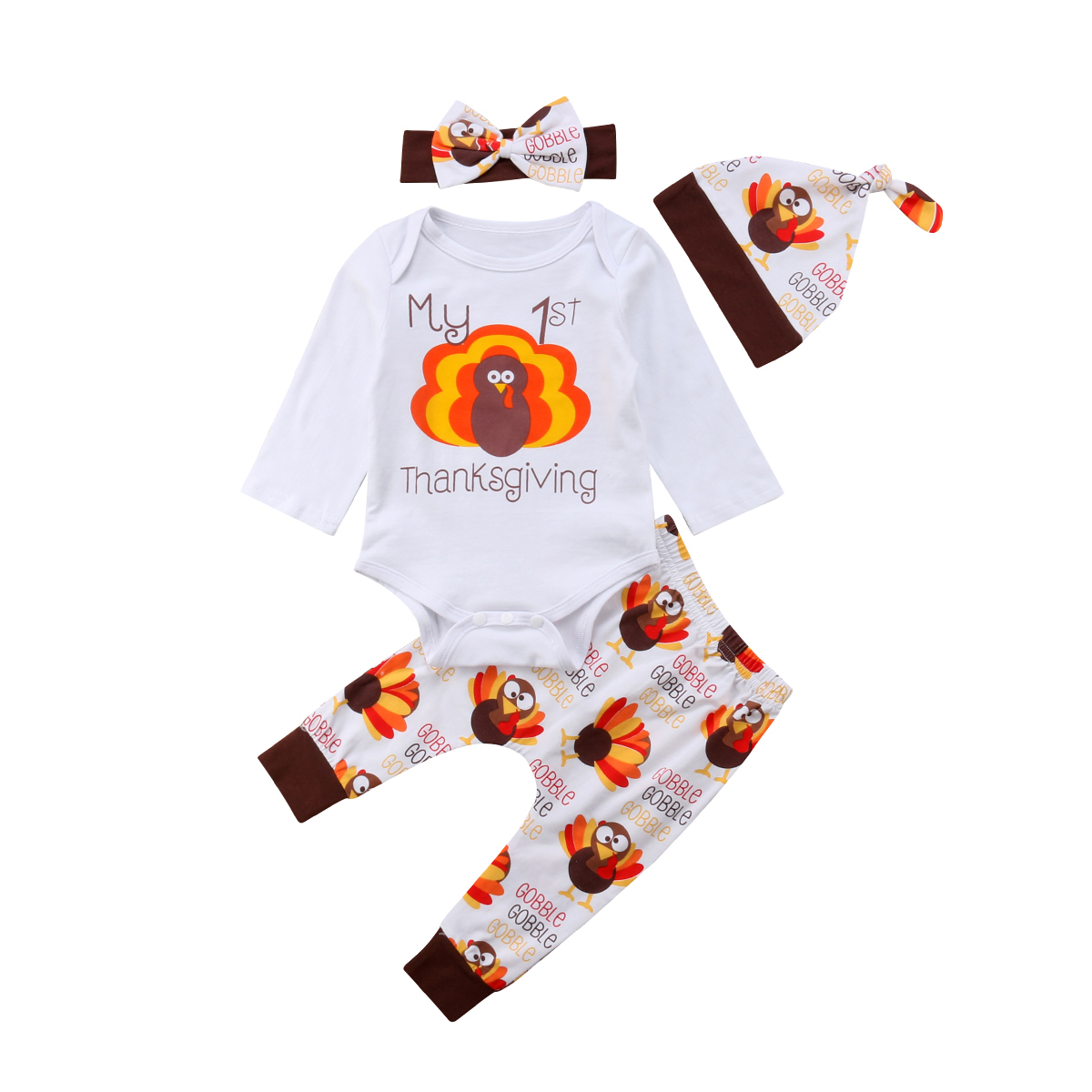 Newborn Infant Baby Girl Thanksgiving Outfit Clothes Romper Tops+Pants+Hat Set