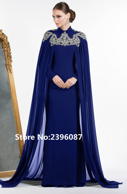 High Neck Royal Blue Chiffon with Cape Crystal Beaded Dubai Kaftan Dress  Muslim Evening Dresses Long Prom Gown robe de soiree c7a150c2a37a