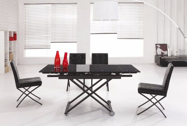 L808h Whole Solid Black Color Extendable Gl Dining Table With Adjust Height 19 To 29