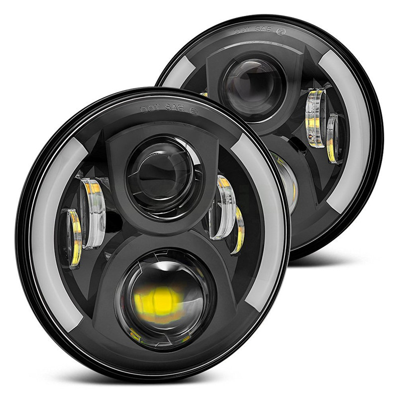 7 50W Round Black LED Headlights Bulb with Halo Ring for Jeep Wrangler JK TJ Hummer H1 H2 LED Projector DRL Headlamps