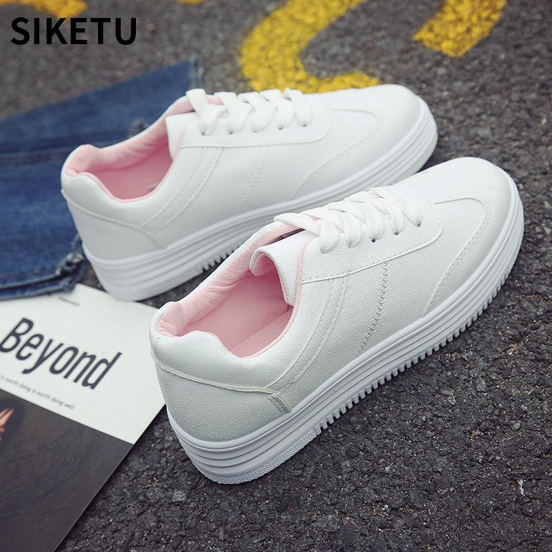New Fashion Lady Casual White Shoes Women Sneaker Leisure tenis feminino Thick Soled Flats Shoes Cross-tied Lace Up Ladies Shoe