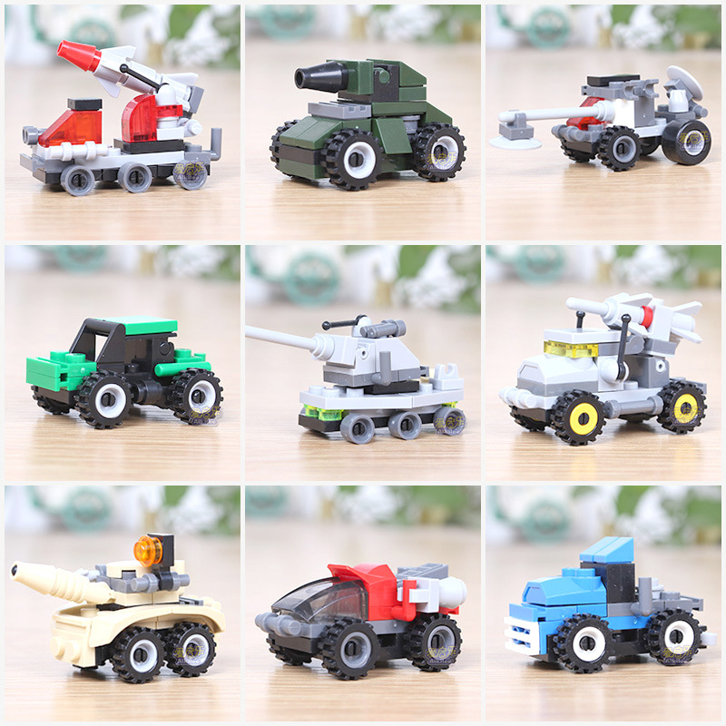 4PCS Building Blocks DIY Construction Car Toys Cartoon Action Figures Assembling ABS Toy Game For Kid Childrens Birthday Gifts