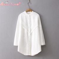 Stand Collar Long Sleeve Flower Embroidery Lace Cotton White Shirt Mori Girl Spring Autumn Women Blouse