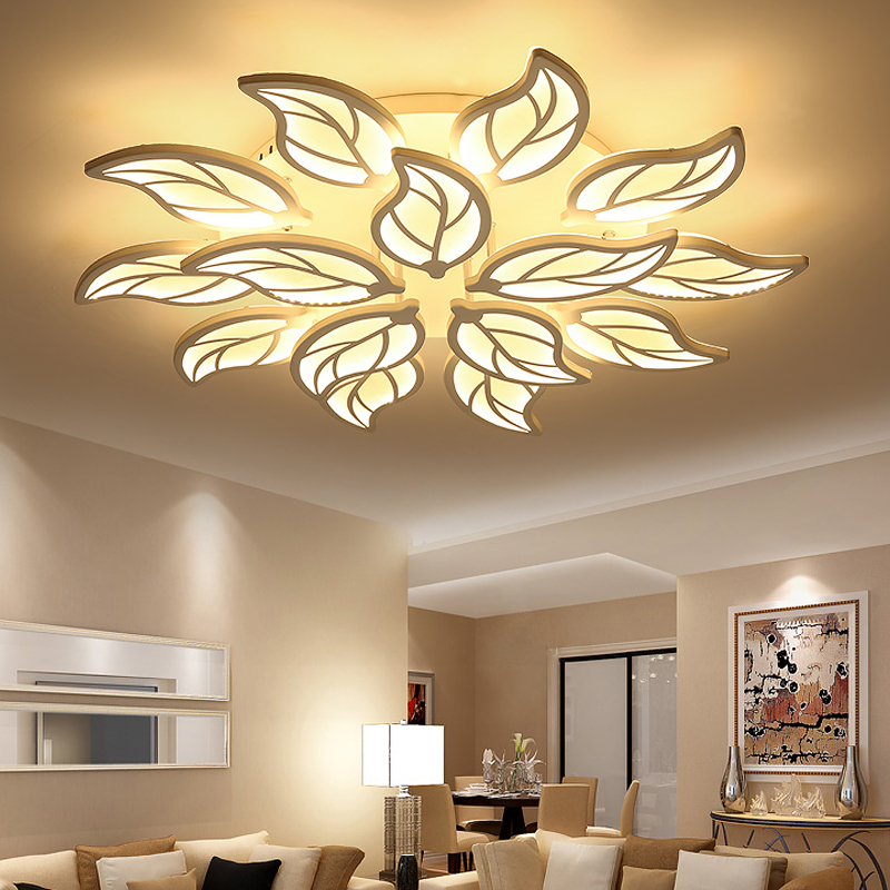 Modern Remote Control LED Chandelier Lighting Flush Mount Acrylic Chandeliers Light Fixture for Living Dining Room Bedroom Decor