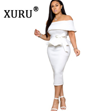 XURU autumn and winter new ruffled dress wrapped chest irregular word collar lotus leaf split