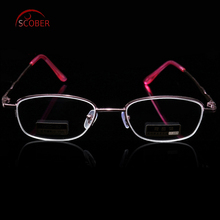 =SCOBER= Design Semi-Rimless Coated Lenses Fashion Pink Women Reading Glasses +0.5 +0.75 +1 TO +6 With Case