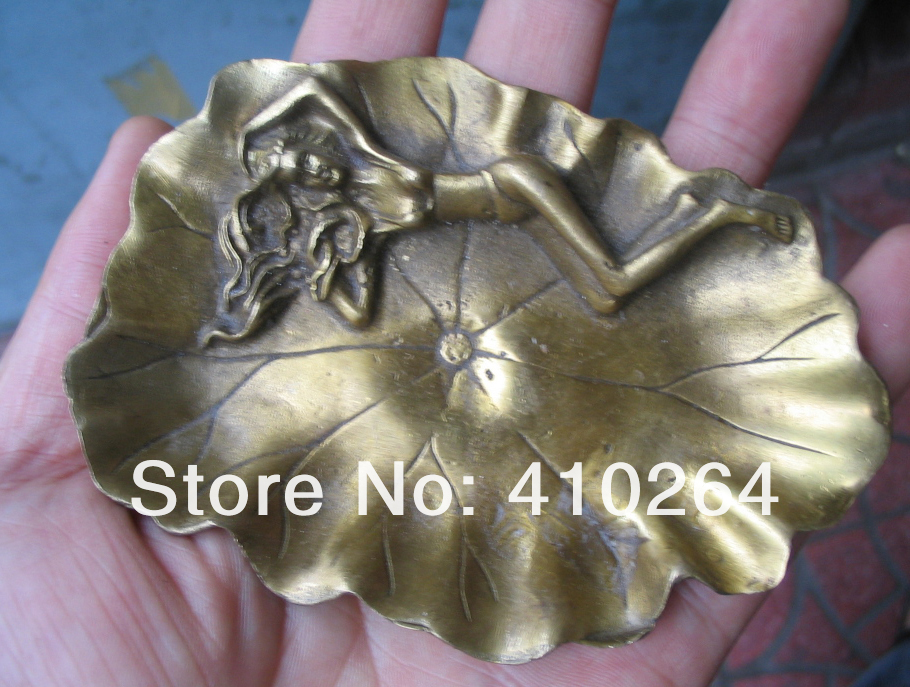 0116P [old Craft ] Fast Shipping Beautiful Collections Naked Beauty Ashtray Bronze Statue (A0314)