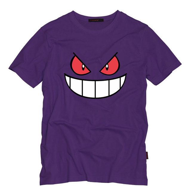 Anime Cartoon Gengar Adult Tshirt O Neck Top Tees Casual Short-Sleeved T-shirt Creative Men T Shirts