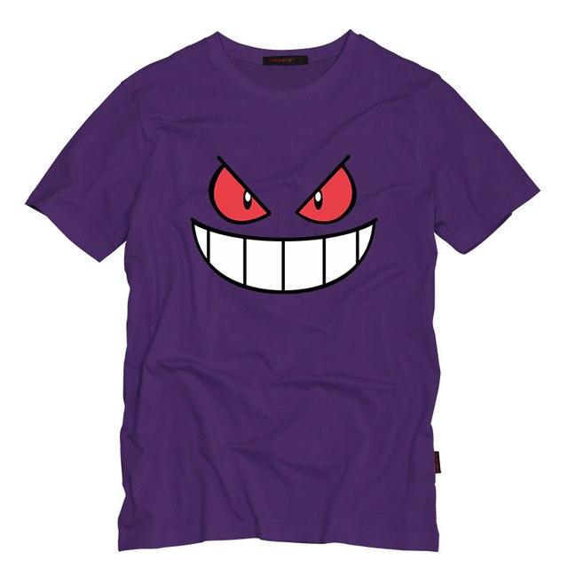 Anime Cartoon Gengar Adulto Camiseta O Cuello Top Tees Camiseta de Manga Corta Casuales Creativo Hombre Camisetas