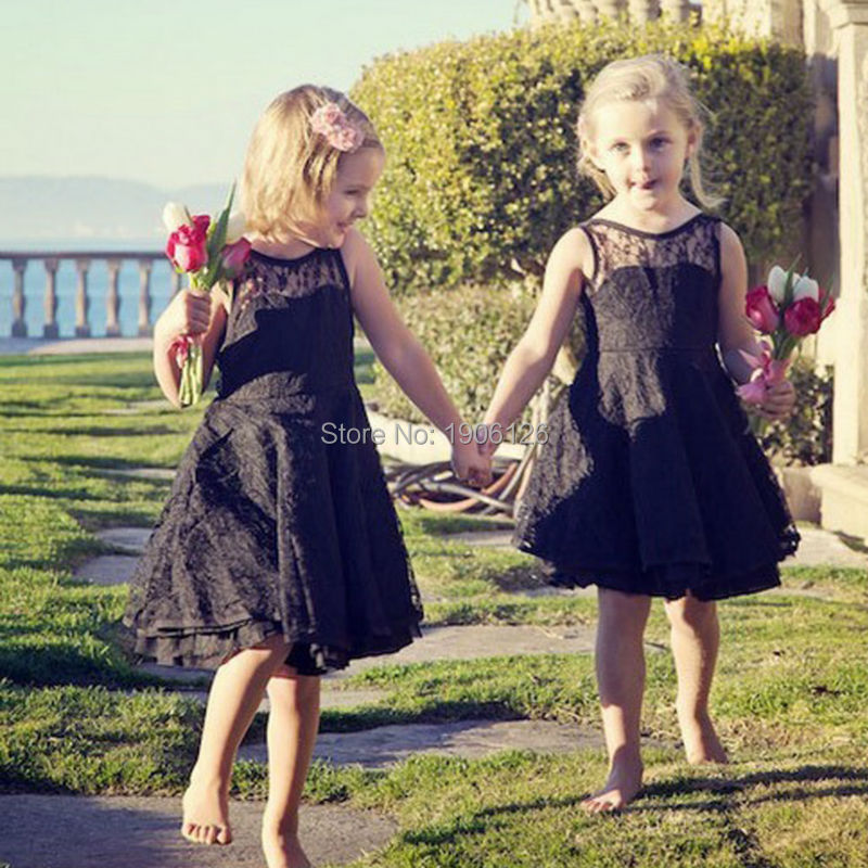 black coral lace flower girl dresses for weddings short pageant gowns girls robe petite fille d