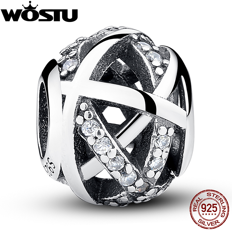 Genuine 925 Sterling Silver Silvery Galaxy Charm Beads With CZ Fit Original wst Bracelet Pendant Authentic Equal Jewelry(China)