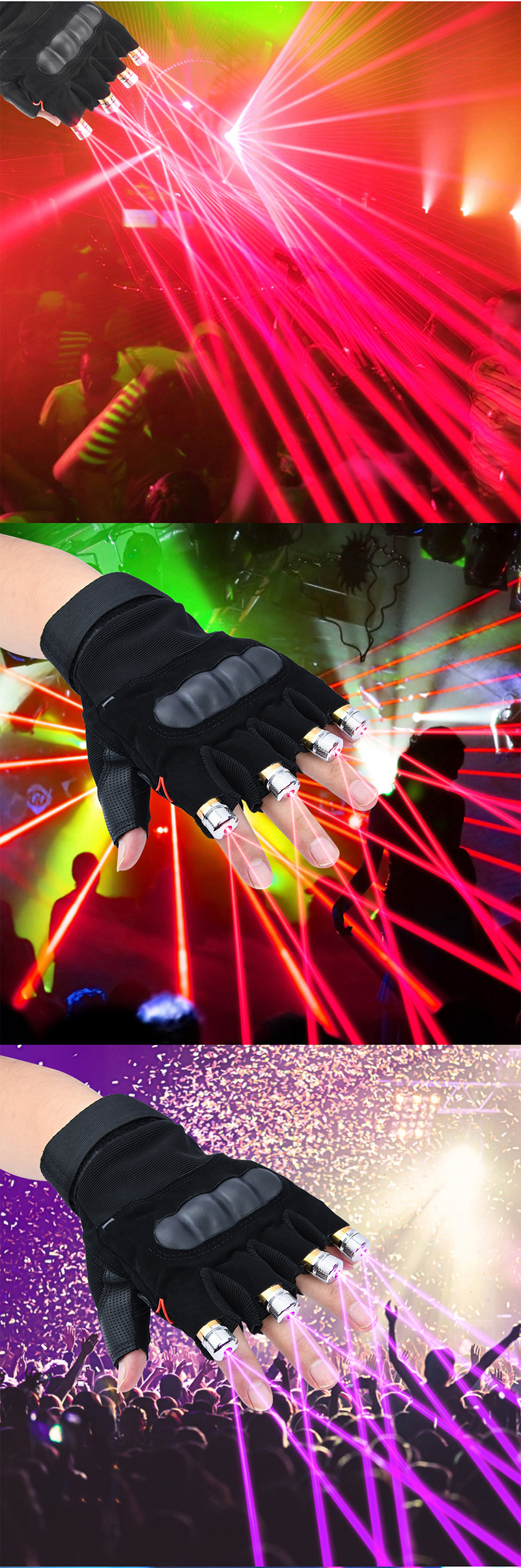 Cool Finger - Laser Gloves - Flashlight - for Party - Concert - Clubbing - Wedding - Birthday - Party - Outdoor Night Activities(18)