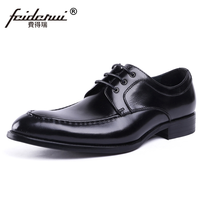 2018 New Vintage Man Derby Formal Dress Wedding Shoes Genuine Leather Handmade Round Toe Lace up Men's Office Footwear JS127 цена
