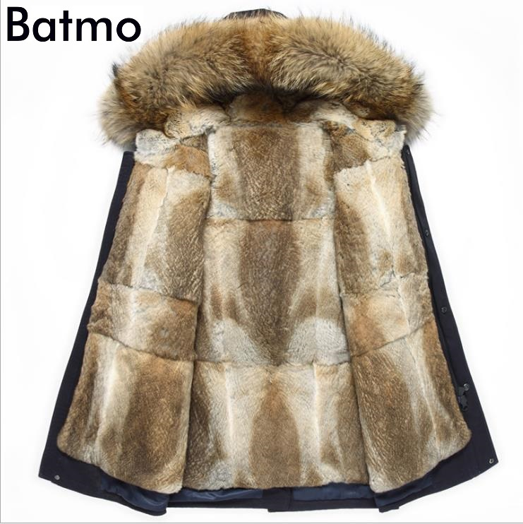 Batmo Hooded-Jacket Coat Men Rabbit-Fur-Liner Winter Warm Collar Raccoon-Fur High-Quality
